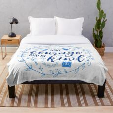 Have Courage and Be Kind Typography Cobalt Blue Throw Blanket