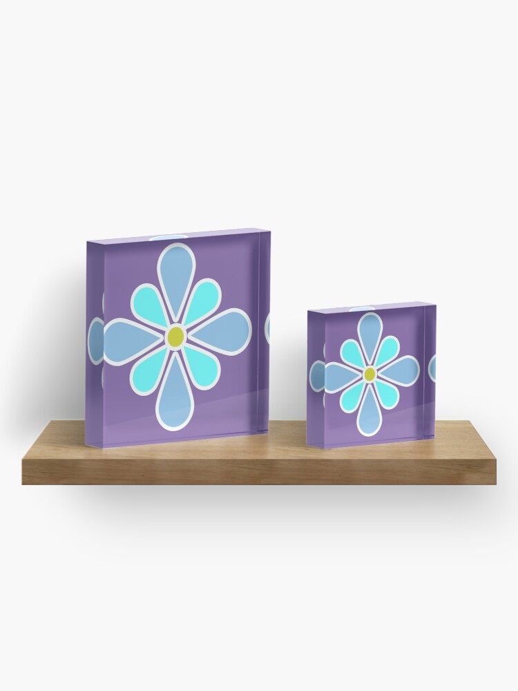 Alternate view of Pastel Blue Flower Acrylic Block
