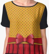 Trendy Red Bow Ribbon Yellow Polka Dots Stripes  Women's Chiffon Top