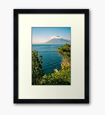 View of Volcano San Pedro with a crown of clouds in Guatemala Framed Print