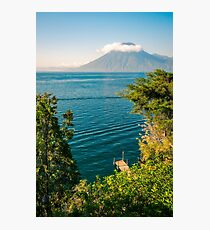 View of Volcano San Pedro with a crown of clouds in Guatemala Photographic Print