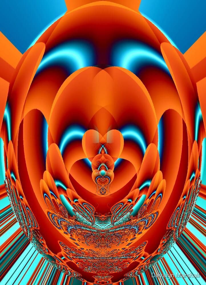 Fractal Faberge Egg Orange by Devalyn Marshall