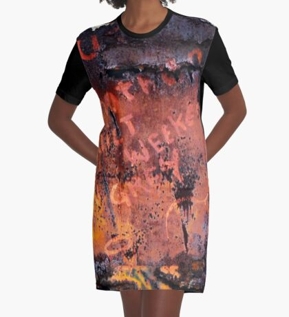 Message in Rust Graphic T-Shirt Dress