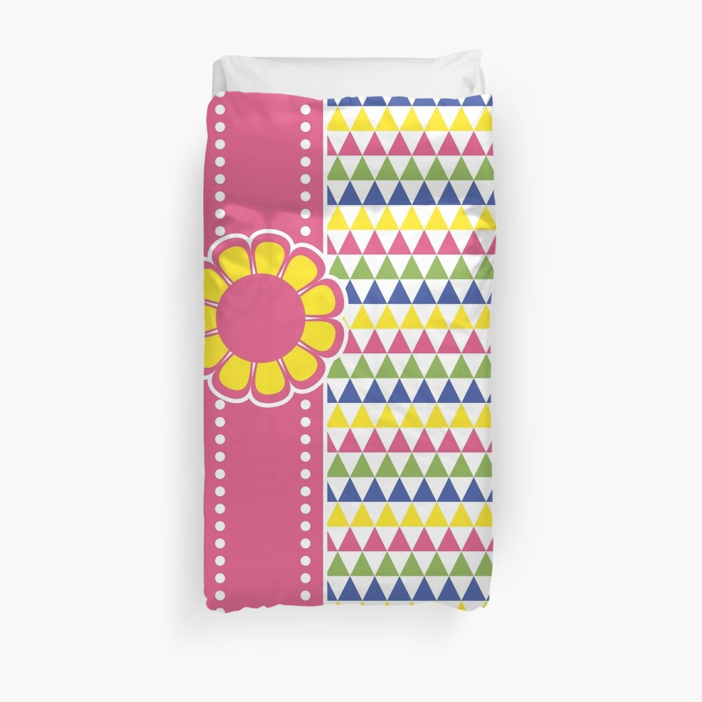 Colorful Geometric Pyramid Flower Ribbon Yellow Pink Green Duvet Cover