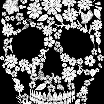 Embroidery a skull from flowers on a black background. by LuckyStep
