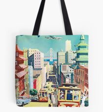 San Francisco, street, tramway, travel poster Tote Bag