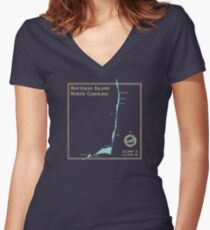 Hatteras Island North Carolina map Women's Fitted V-Neck T-Shirt