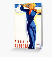 Winter in Austria, ski blond woman, vintage travel poster Greeting Card