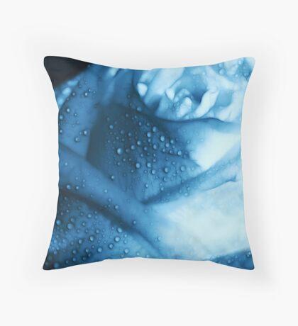 Ice Blue Rose Tears Throw Pillow