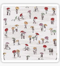 Tiny people with umbrellas Sticker