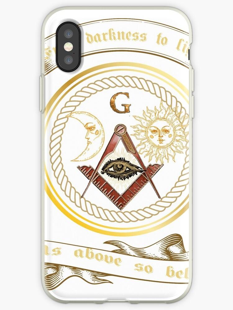 'Freemason Masonic Symbol Square & Compass Logo T-Shirt ' iPhone Case by  MYCUPOFT