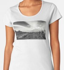 Cat Eyes in the clouds of Vocano Pacaya Panorama. Who is watching? :) Premium Scoop T-Shirt
