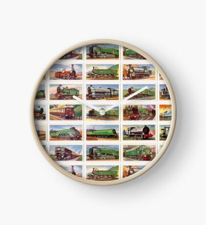British locomotives from 1800s. Set of 25 in colour Clock