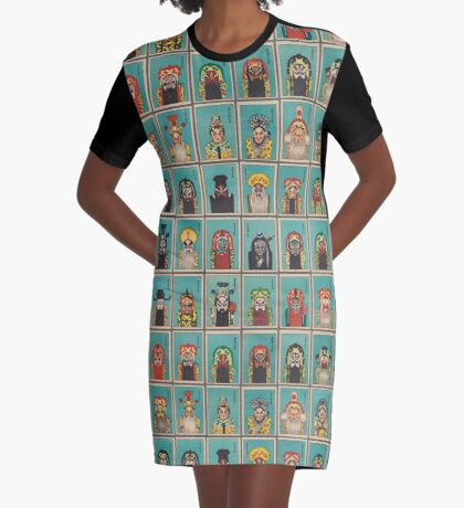 Chinese opera painted faces. Set of 40 Graphic T-Shirt Dress