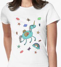 Unicorn and rainbow Women's Fitted T-Shirt