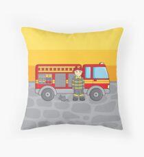 Cute Little Fireman Throw Pillow