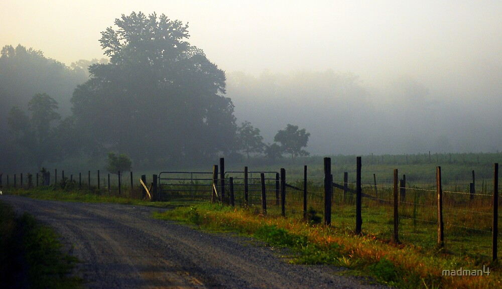 Foggy Pasture Fence by madman4