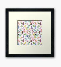 Whimsical Birds- Seamless Pattern Framed Print