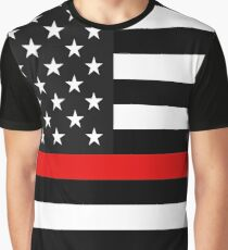 Thin Red Line American Flag Graphic T-Shirt