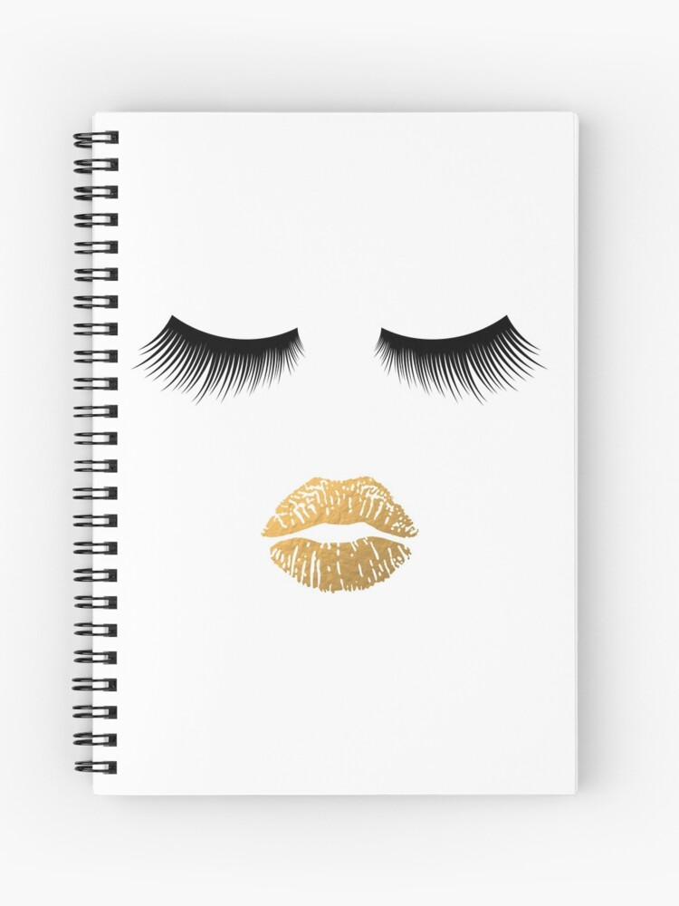 20cdbb39ae6 Lashes and Lips - Gold Lips and Eyelashes Makeup Face Spiral Notebook