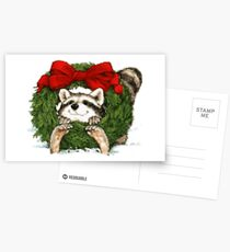 Vintage Christmas Wreath Decoration And Raccoon Postcards