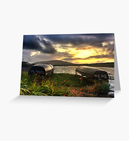Curraghs In A Portmagee Sunset Greeting Card