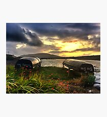 Curraghs In A Portmagee Sunset Photographic Print