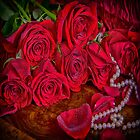 Red Roses With Pearls by daphsam