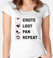 PUBG - Chute, Loot, Pan, Repeat  Women's Fitted Scoop T-Shirt