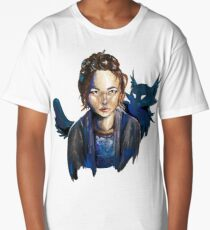"""Girl and a Cat"" Mixed Media Painting Long T-Shirt"