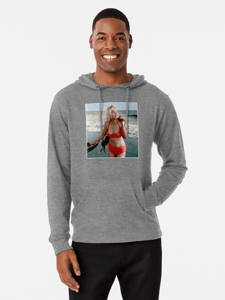6e49c4a7ae658 MARILYN MONROE : In A Red Bathing Suit Vintage Print Lightweight Hoodie.  Designed by posterbobs
