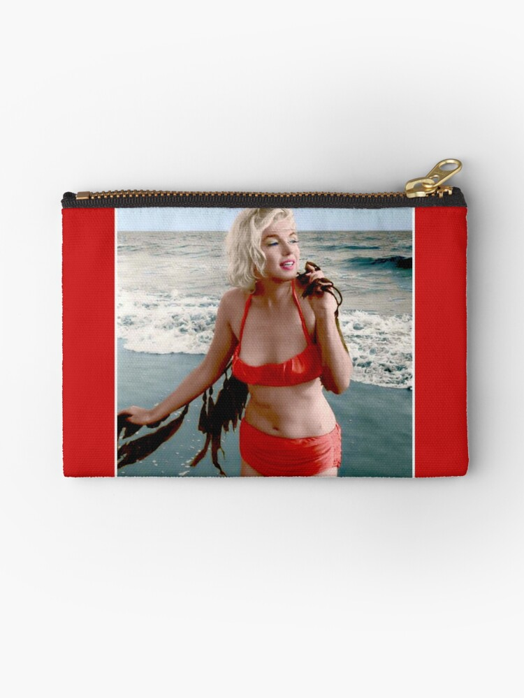 eb0127a195aa6 MARILYN MONROE : In A Red Bathing Suit Vintage Print Zipper Pouch. Designed  by posterbobs