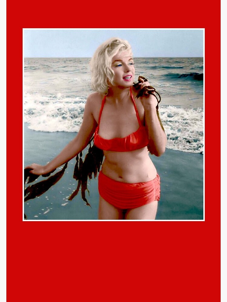 7060a88e5ed71 MARILYN MONROE : In A Red Bathing Suit Vintage Print by posterbobs