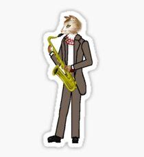 Male Cat playing Saxophone Sticker