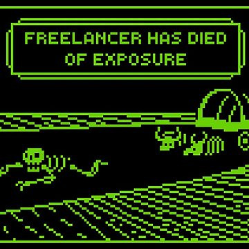 Your Freelancer Has Died of Exposure (Stickers/Notebooks/Cards) by chelleshock