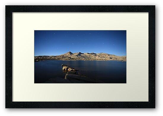 Aloha Lake and Pyramid Peak at Moon Light by Christophe Testi