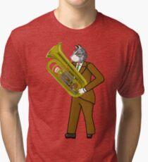 Male Cat playing Tuba Tri-blend T-Shirt