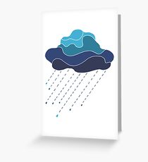 Beautiful in blue tones cloud with raindrops, Greeting Card