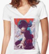 Izuku Midoriya - Boku no Hero Academia   My Hero Academia Women's Fitted V-Neck T-Shirt