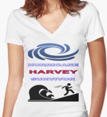 Hurricane Harvey Survivor Women's Fitted V-Neck T-Shirt