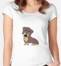 dachshund chocolate and tan cartoon Women's Fitted Scoop T-Shirt