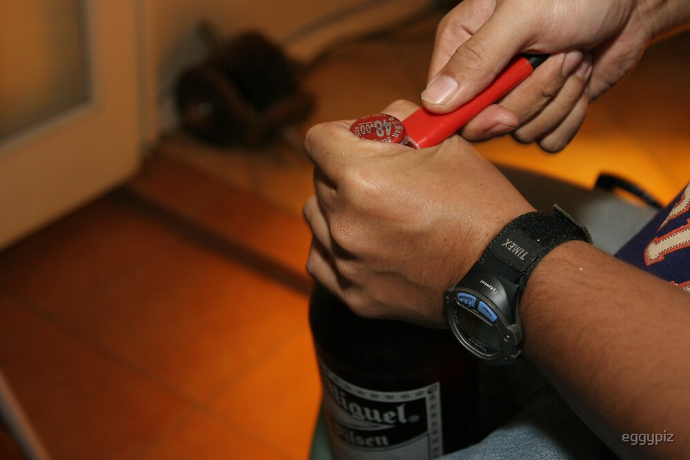 Opening the bottle with a lighter by eggypiz