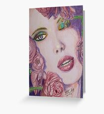 Colorful Face with Roses Greeting Card