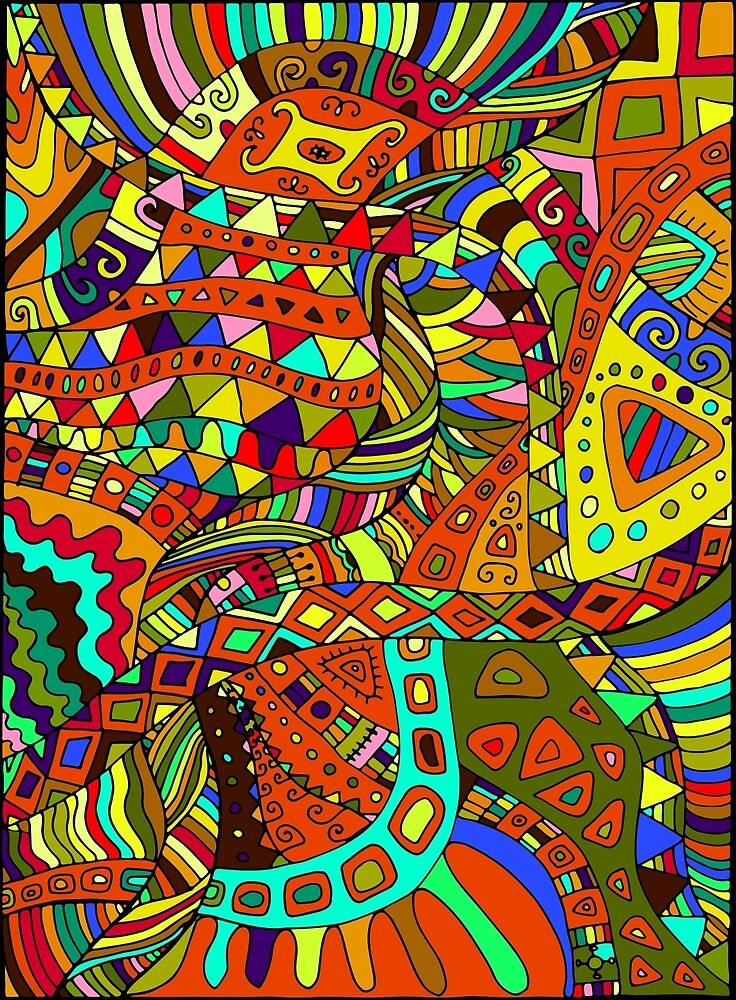 Beautiful, decorative, psychedelic hippie background. by Kioto