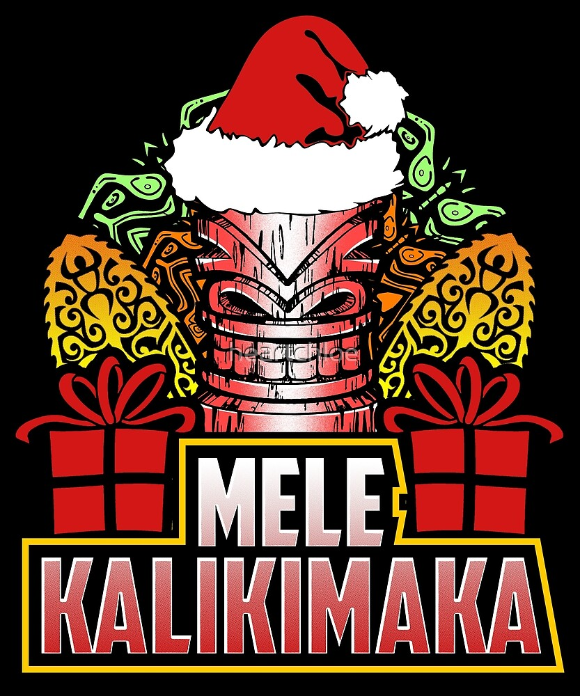 Hawaiian Merry Christmas.Mele Kalikimaka Hawaiian Merry Christmas Tiki By Heartchloe