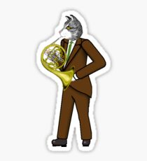 Male Cat playing French Horn Sticker