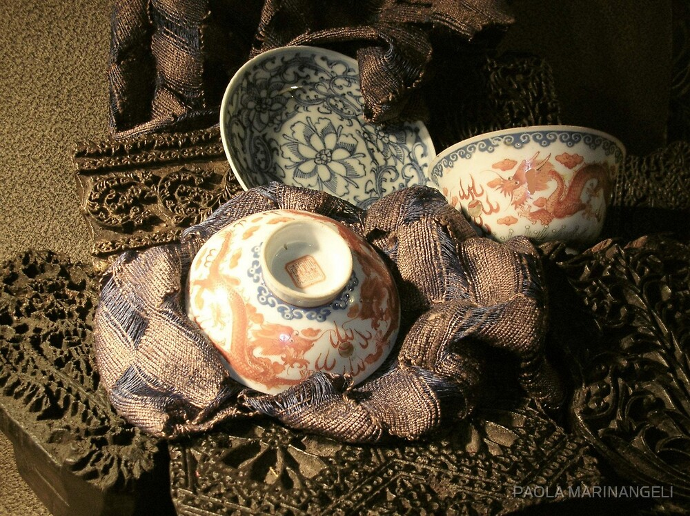 Still life with chinese cups  by PAOLA MARINANGELI