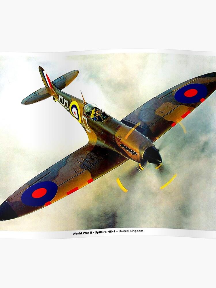 SPITFIRE : Vintage Second World War Fighter Plane | Poster