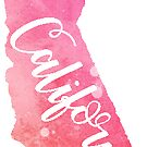 California Sticker Pink watercolor by Sam Palahnuk