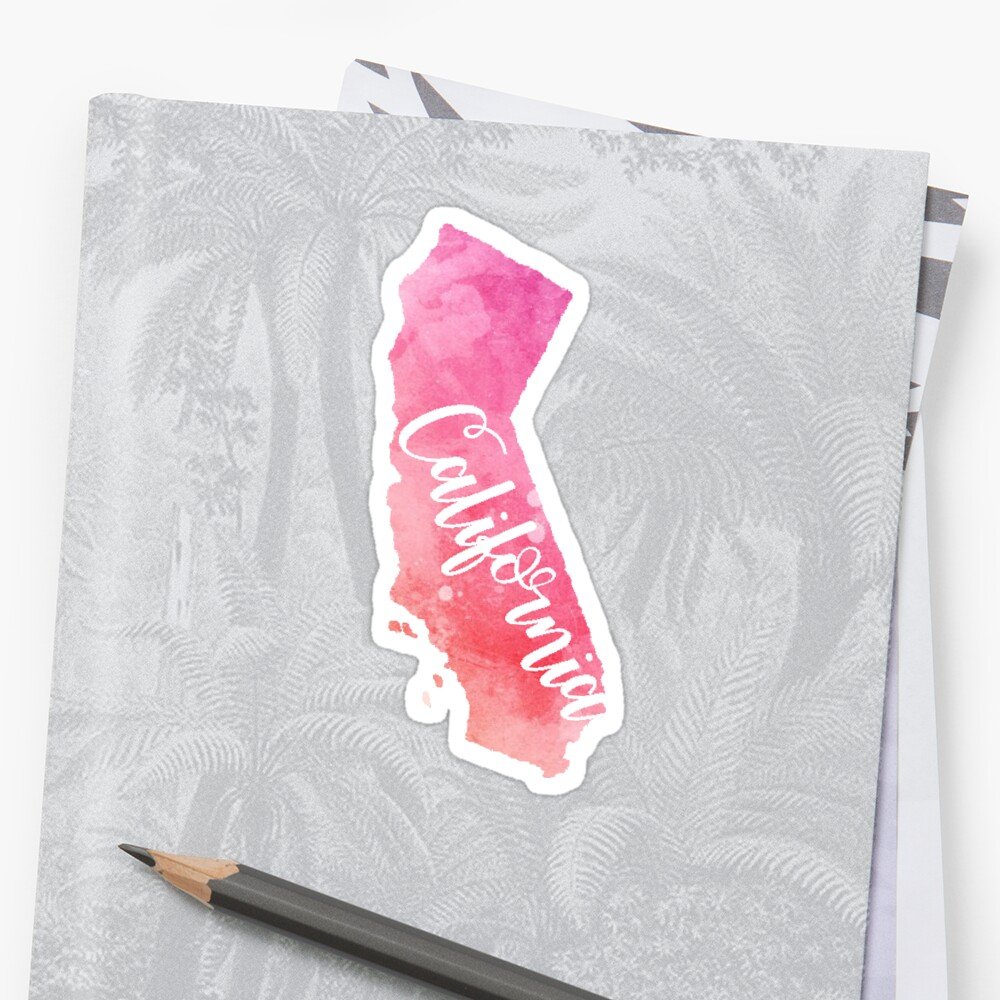 California Sticker Pink watercolor Sticker